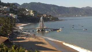 Puerto Vallarta condo photo - View of Los Muertos beach & pier from condo balcony.
