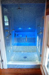 Grohe Spa Shower with Mediterranean Glass Tiles and LED Lighting