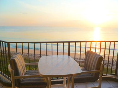 Sunrise, gorgeous view from our oceanfront balcony