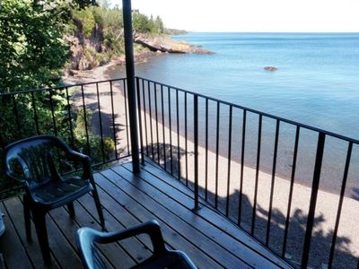 Lutsen condo rental - Private deck overlooking Lake Superior, what more is needed?