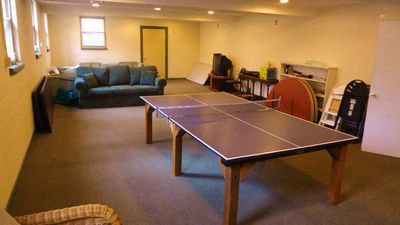 Rec room with Ping Pong and TV.