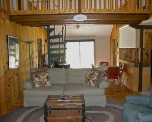 Berkeley Springs cabin photo - Living Room to small deck and fire pit
