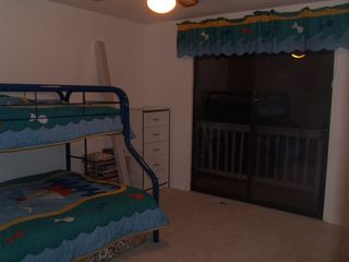 Gravois Mills house photo - Great kids room! Double bed on the bottom, twin on top. Lakeside balcony