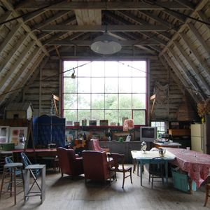 Provincetown studio rental - The main barn space showing the north facade of windows.