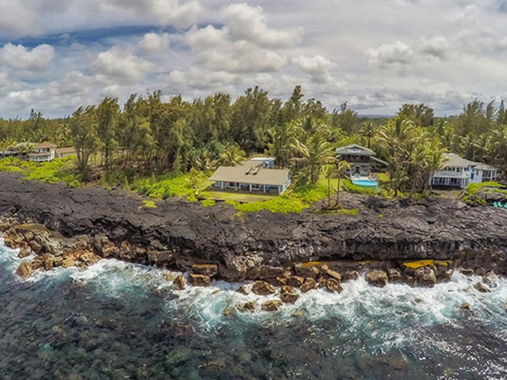 Aerial view of the oceanfront Alohahouse - hike along the bluff either direction
