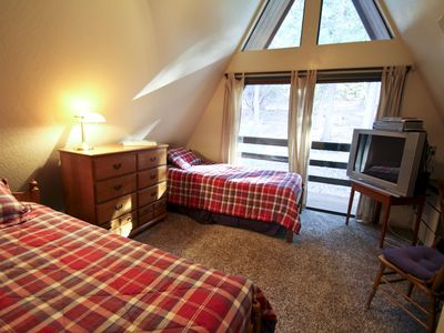 Pollock Pines cabin rental - Bedroom 3--sliding door to private balcony.