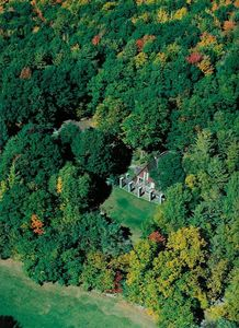 An aerial view of the Rye Chalet and it's 20 acres of privacy.