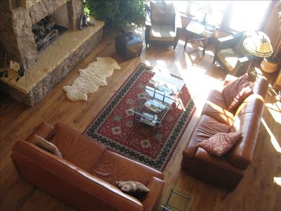 Great Room from above with lots of sun (both couches are fold-out queens)