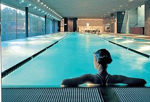 A view of the nearby O2 Wellness Centre Pool