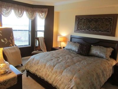 Master Bedroom has king size bed, LED TV, DVD Player, two large closets.