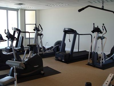 Exercise Room has Cardio Machines, Weight Machines, and Free Weights