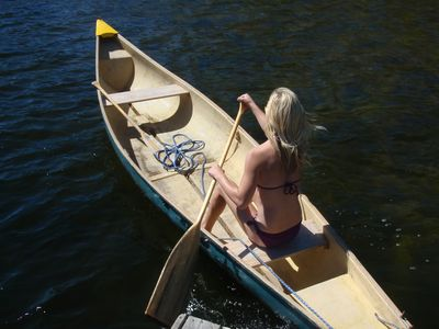 Enjoy the large canoe with paddles provided FREE to use during your stay.
