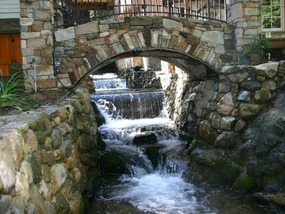 Stone Bridge to Patio and Hot Tub