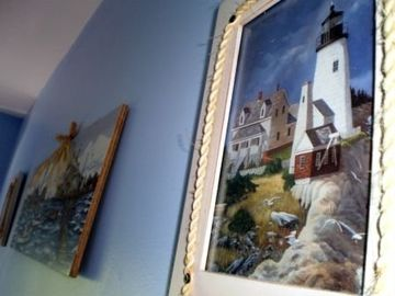 Lighthouse bedroom artwork.