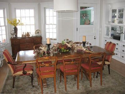 Formal Dining room with original built in hutch and bay window.