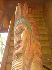 Cedar Lake cabin photo - American Indian Totem Pole stands watch at our front door.