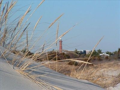 Old Barney:  View from the Dunes looking Northwest to Barnegat Lighthouse.