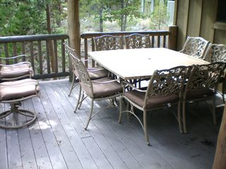 Sunriver house photo - Covered deck table seats 8!