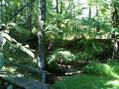 Woodstock house rental - A year-round brook flows through the back of the property