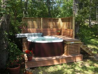Chilmark farmhouse photo - Brand new hot tub with light and waterfall.