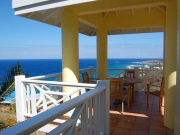 St. Croix house rental - covered belvedere with outdoor dining