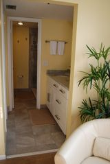 Redington Shores condo photo - The master en suite is brand new with granite counters and great storage.