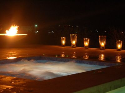Jacuzzi and Firepit at Night