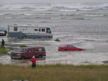Big Oct storm 2011, people who didn't listen to warnings not to park on beach