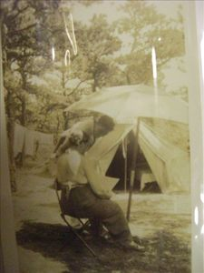 Grandmother Amy Foote camping on the land 1917
