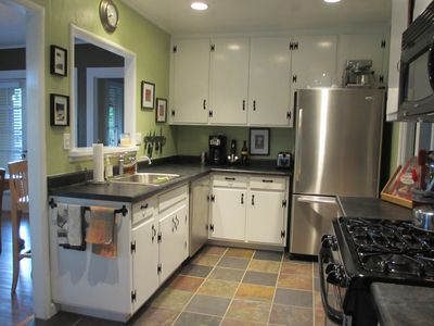Remodeled kitchen great to cook in! Supplied with dishes, cookware and spices.