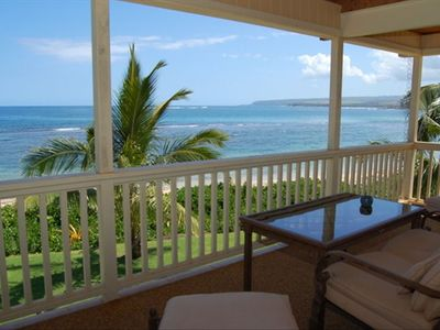 Relax on the covered lanai with views of the North Shore Coastline.