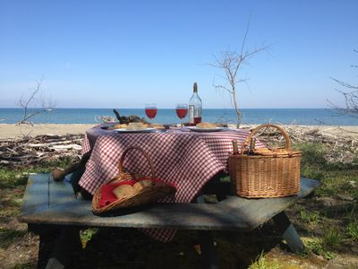 Breakfast, lunch, dinner, or wine and cheese on the beach!