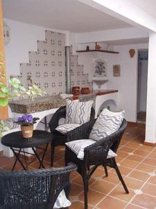 Fornalutx house rental - lower courtyard/kitchen ajoining