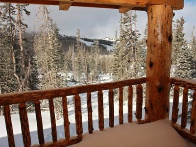 View from back deck to Brian Head ski runs-Large gas barbeque on decks