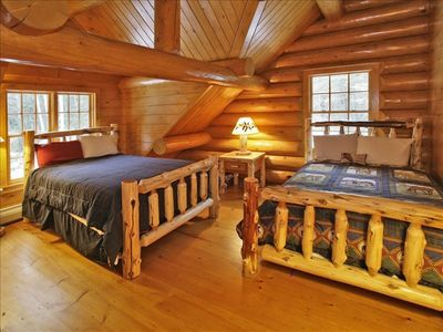 Loft bedroom - all beds in home are log beds !