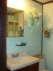 Biddeford cottage photo - Clean bath with window, modern fixtures,shower, & storage.