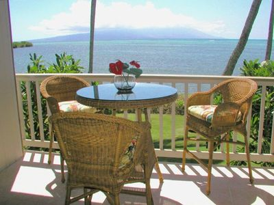 The dramatic view from the lanai of the ocean and the island of Maui
