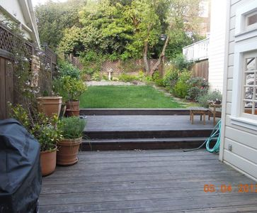 Large (for SF), private, level backyard with gas grill