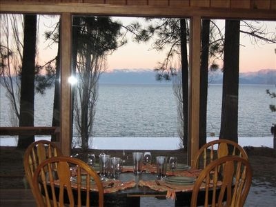 The dining table is in the main room & overlooks lovely Lake Tahoe!