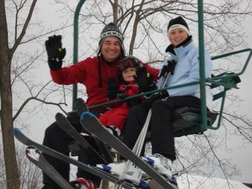 Family on Boyneland Chair lift