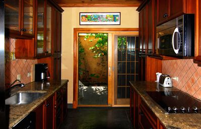 The kitchen opens onto a private garden/patio with a Jenn/Air grill.