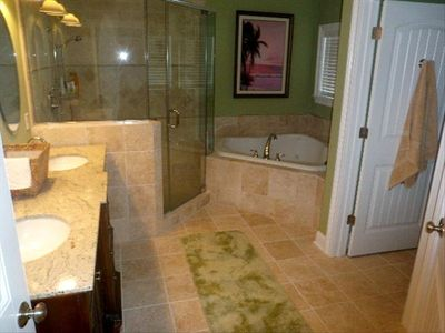 Master bath/whirlpool tub, glass enclosed shower