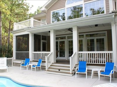 Large Covered Rear Porch , Screen Porch, and Pool Deck