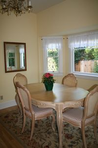 Santa Barbara house rental - View the organge tree from your sunny dining room spot