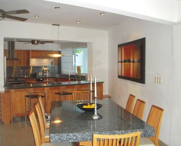 Kitchen and dining table with Brazilian granite