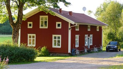 A typical swedish timber house- red with white corners