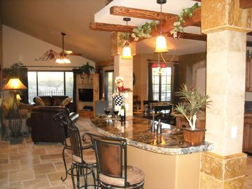 Scottsdale North house rental - Custom Granite Bar with Travertine Stone Columns
