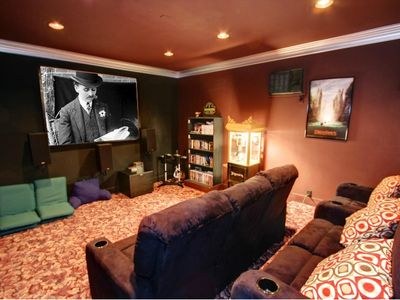 The home movie theatre with popcorn maker. This is a great spot to play Wii too!