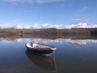 BQ bass boat Mid March Morning on The Helford River.