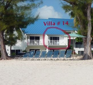 Our villa from the beach - True beachfront!
